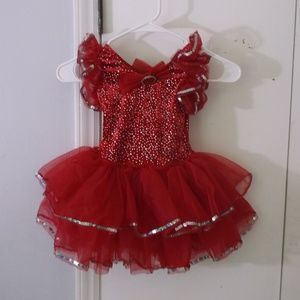 Red Dance Pageant Short Costume Dress SC Girl 6 6X